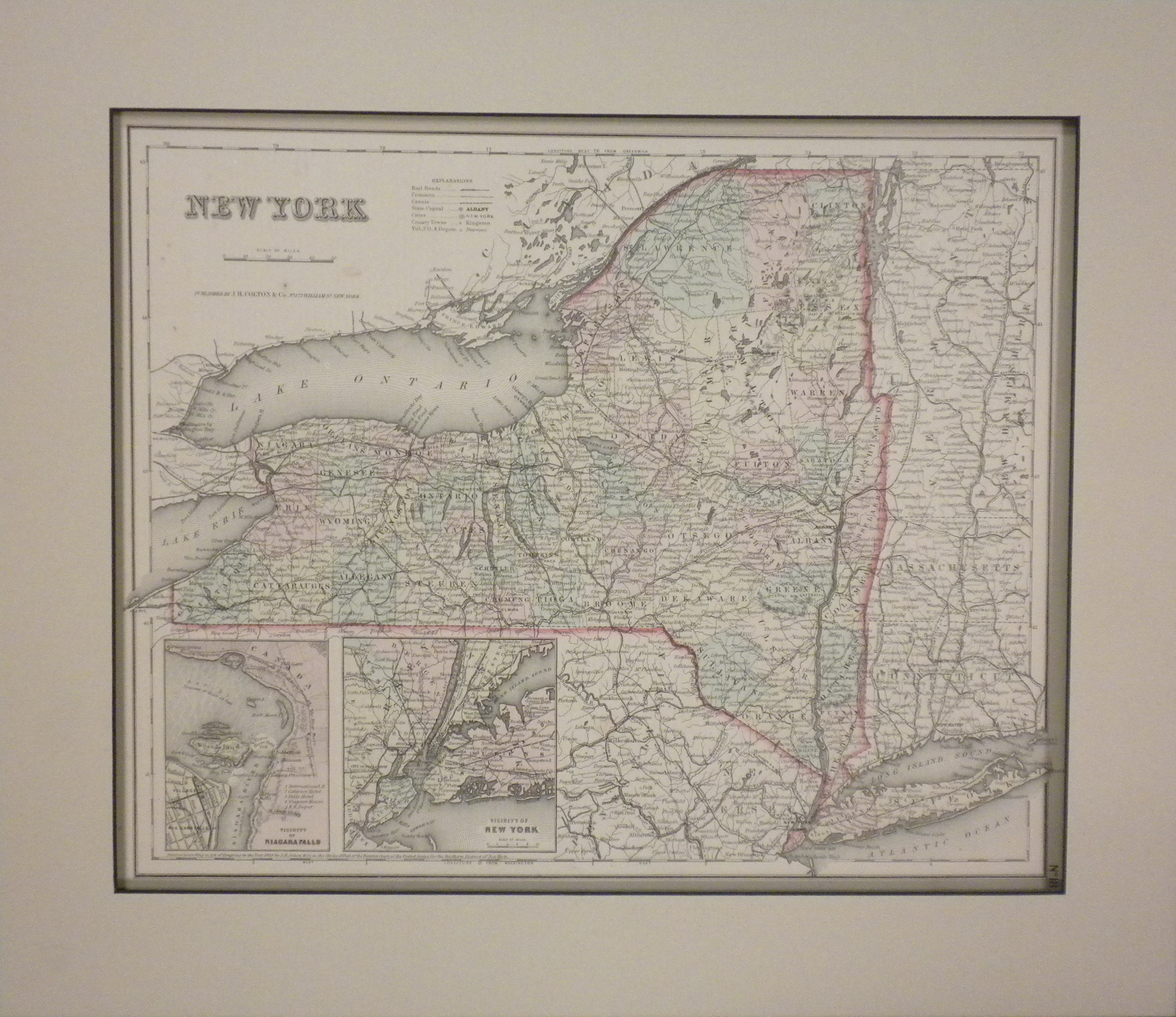 1855 Map of New York, New York Vicinity and Niagara Falls by J.H. Colton