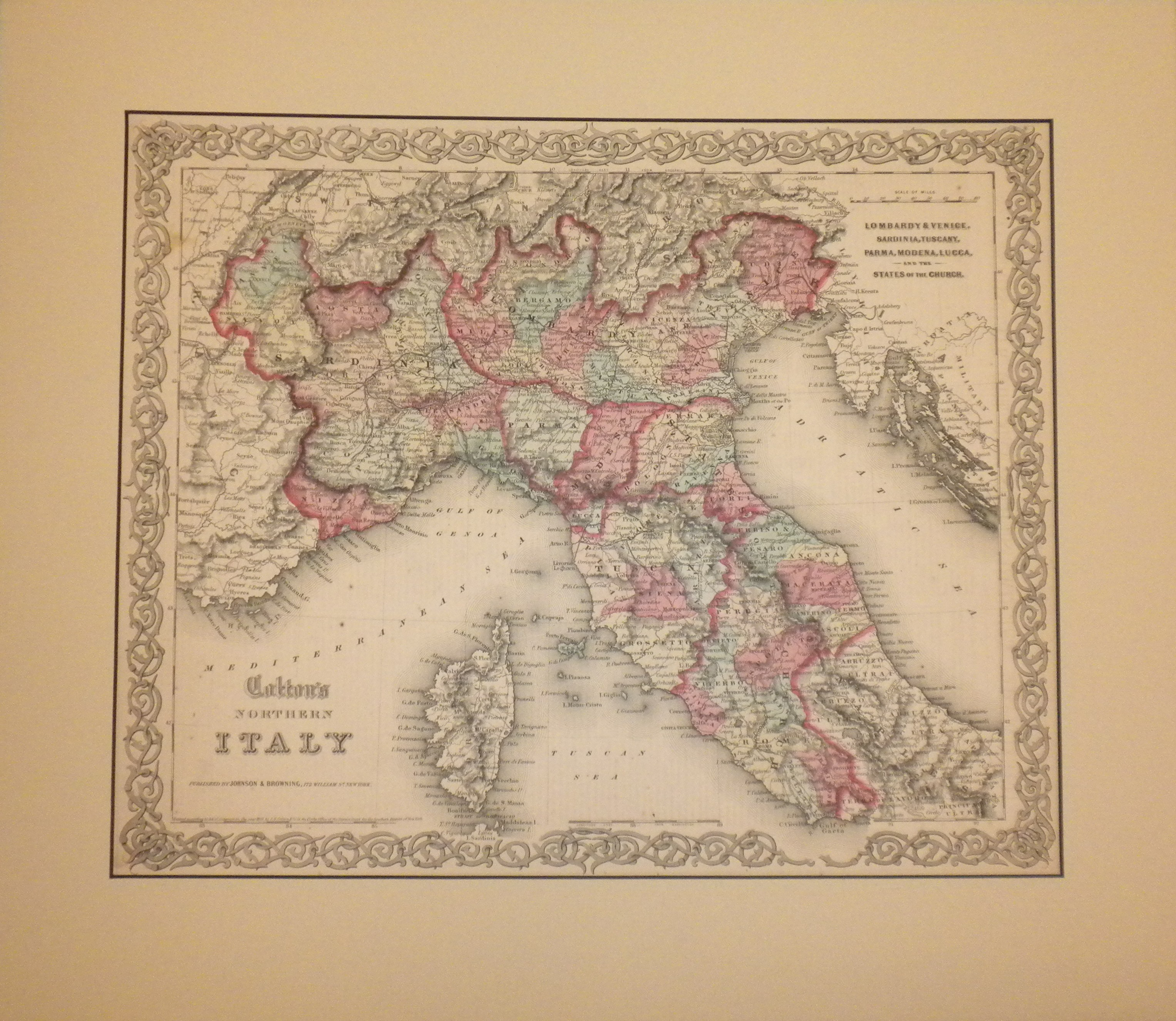 North Of Italy Map.1855 Map Of Northern Italy By J H Colton