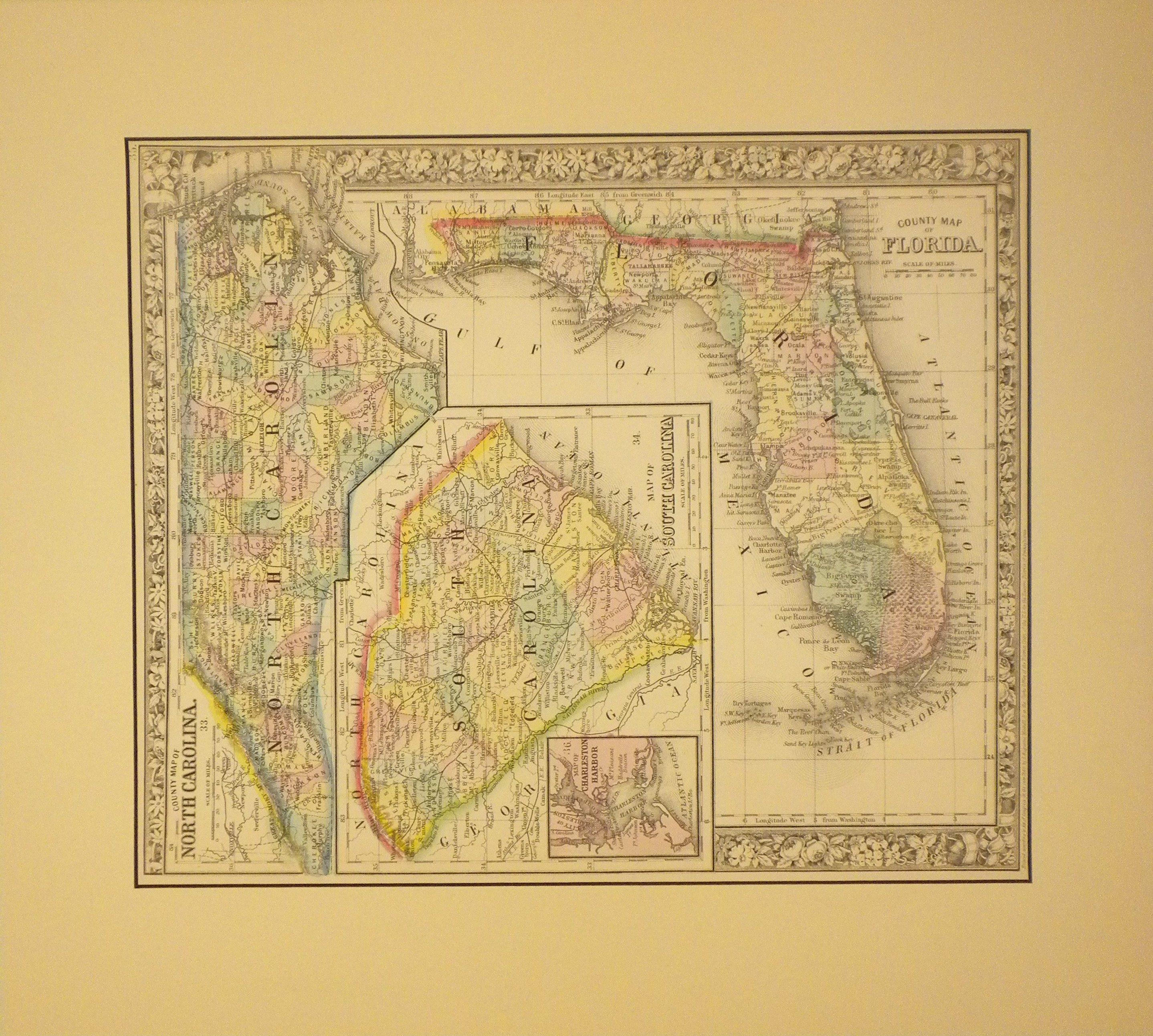 1860 County Map of North Carolina, South Carolina, & Florida by ...